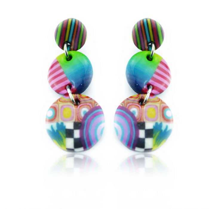 """Boucles d'oreilles """"Liz Créations - 3 ronds Multi"""" en argile polymère"""