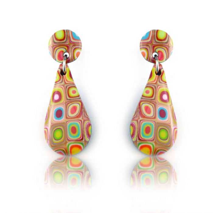"""Boucles d'oreilles """"Liz Créations - Goutte Klimt"""" en argile polymère"""