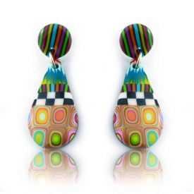 """Boucles d'oreilles """"Liz Créations - Goutte Multi"""" en argile polymère"""