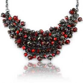 "Collier ""Ikita - Red Pearls"" en perles de verre"