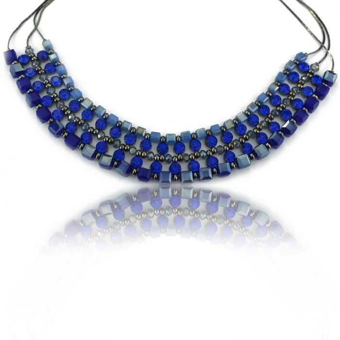 "Collier fantaisie ""Ikita - Blue Sky"" en perles de verre"