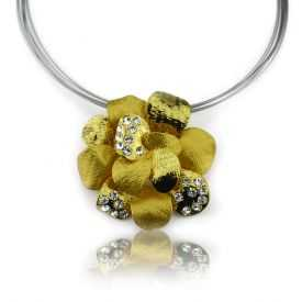 """Collier fantaisie """"Ikita - Golden Rose"""" en métal doré et strass, sur câbles"""