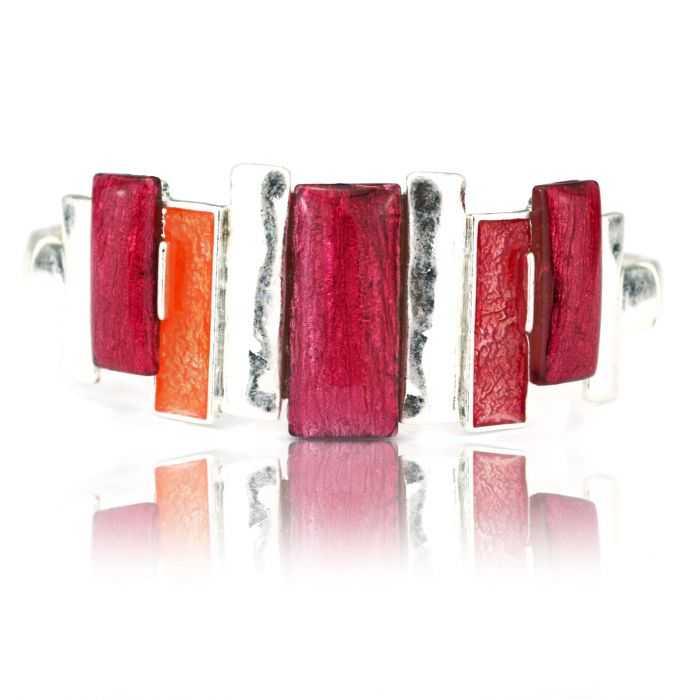 """Bracelet fantaisie """"Ikita - Strong"""" en métal argenté et émail"""