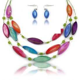 """Parure """"Ikita - Long Murano"""" en perles de verre, sur câble"""