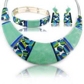 """Parure """"Ikita - Ceram"""" en métal argenté et émail - turquoise"""