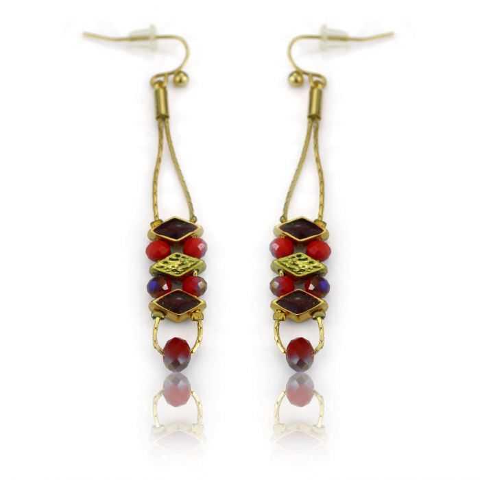 "Boucles d'oreilles ""Ikita - Chic"" en métal et perles  de verre"