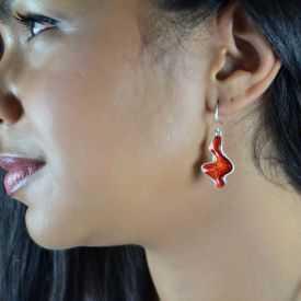 """Boucles d'oreilles """"Ikita - Multi Colors"""" en métal argenté et émail"""