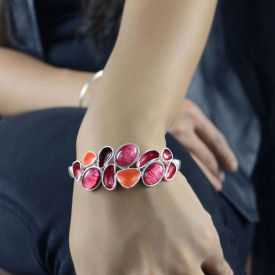 """Bracelet fantaisie fantaisie """"Ikita - Morning Dew"""" en métal argenté et émail"""