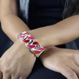 """Bracelet fantaisie """"Ikita - Force"""" en métal argenté et émail"""