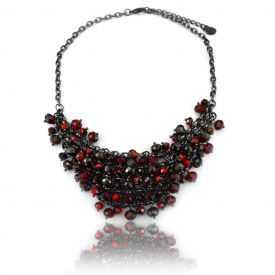 """Collier """"Ikita - Red Pearls"""" en perles de verre"""