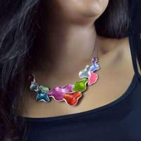 """Parure """"Ikita - Multi Colors"""" en métal argenté et émail - blanc"""