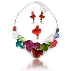 """Parure """"Ikita - Multi Colors"""" en métal argenté et émail - rouge"""