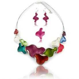 """Parure """"Ikita - Multi Colors"""" en métal argenté et émail - rose"""