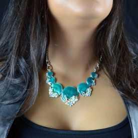 """Parure """"Ikita - Papillons"""" en métal argenté et émail - turquoise"""