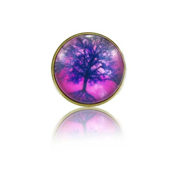 "Bague ""Cabochons - Tree"" en métal bronze et cabochon de verre"