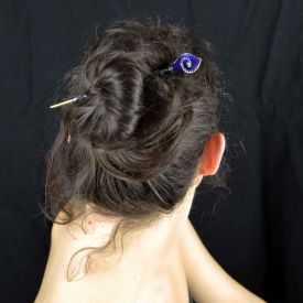 """Pic à cheveux """"New Delhi"""" en métal peint et strass"""