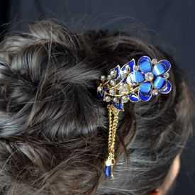 """Pic à cheveux """"Big Flower"""" en métal doré, résine et strass"""