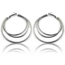 """Boucles d'oreilles """"Ikita - Double Créole"""" en métal argenté"""