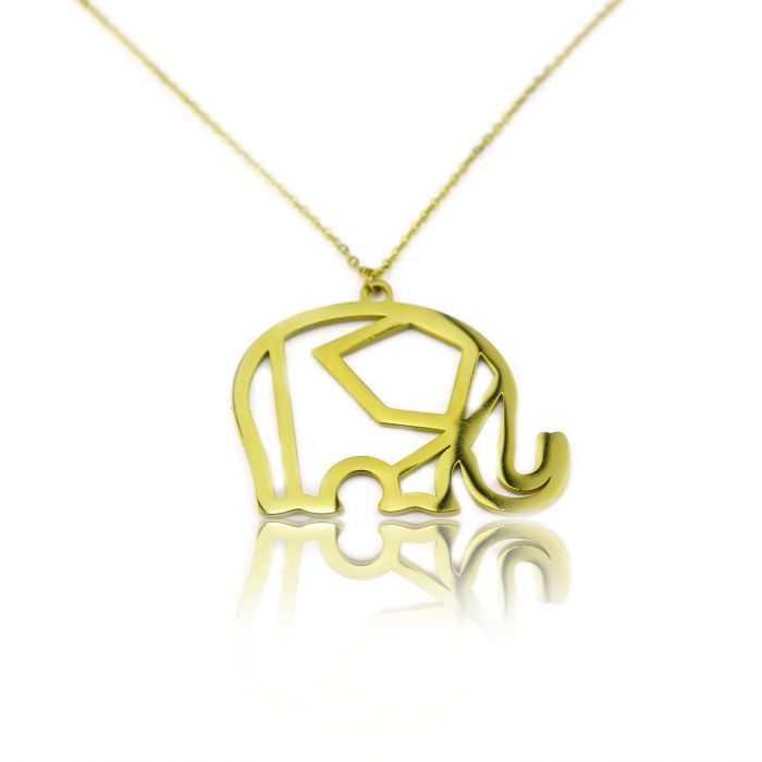 """Collier fantaisie """"Ikita - Nordik Elephant"""" en métal doré"""