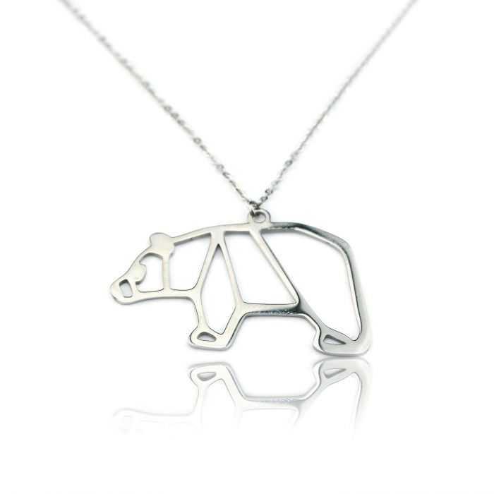 """Collier """"Ikita - Nordik Bear"""" en métal argenté"""