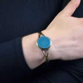 """Bracelet """"Christine Alloing - Fantaise Chic"""" en laiton et céramique"""