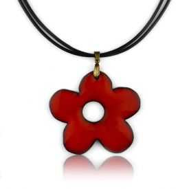 "Collier ""Christine Alloing - Flower"" en laiton et céramique"
