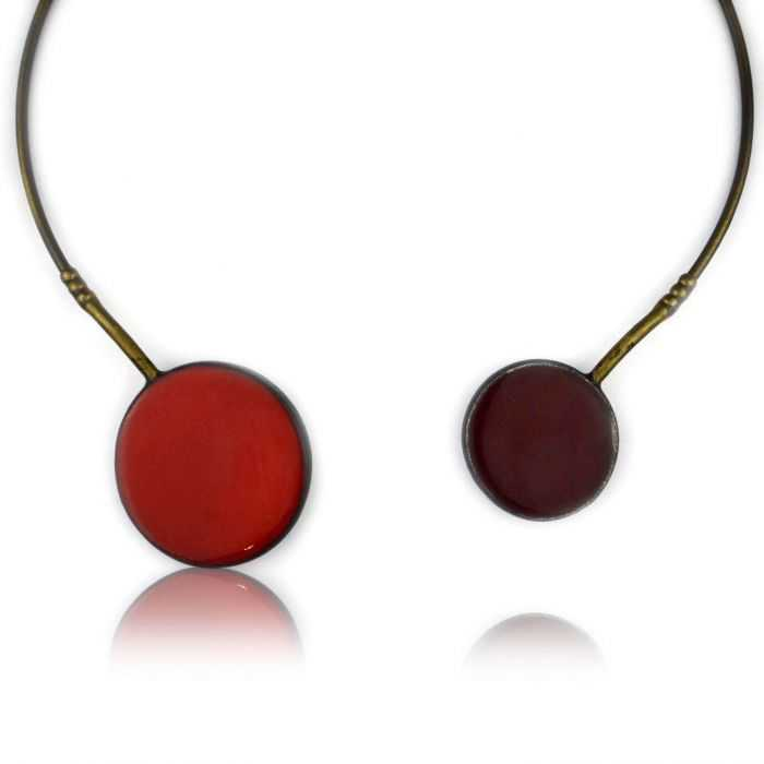 "Collier ""Christine Alloing - Duo"" en laiton et céramique"