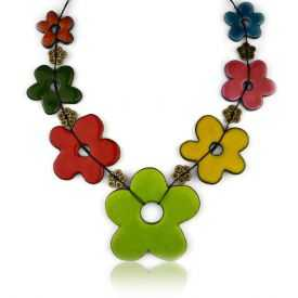 "Collier ""Christine Alloing - Flower 7"" en laiton et céramique"
