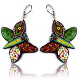 """Boucles d'oreilles """"Le Loup Garou - Papillons"""" en métal argenté peint"""