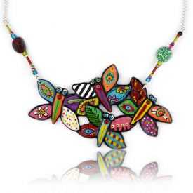 """Collier """"Le Loup Garou - Papillons"""" en métal argenté peint"""