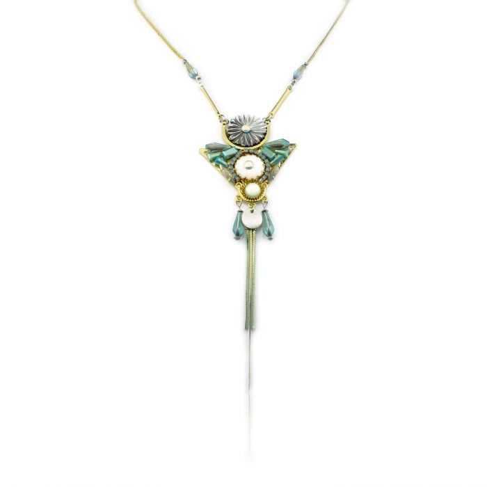 "Sautoir ""Ikita - Triangle"" en métal argenté et perles"