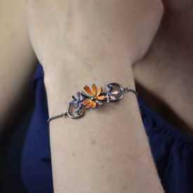 """Bracelet """"Ikita - Bouquet"""" en métal argenté et émail"""
