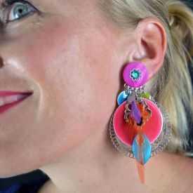 """Boucles d'oreilles fantaisie """"Ikita - Boho Alizé"""" en métal et pampilles"""