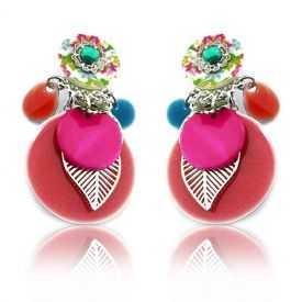 "Boucles d'oreilles fantaisie ""Ikita - Boho Hyacinthe"" en métal et pampilles"