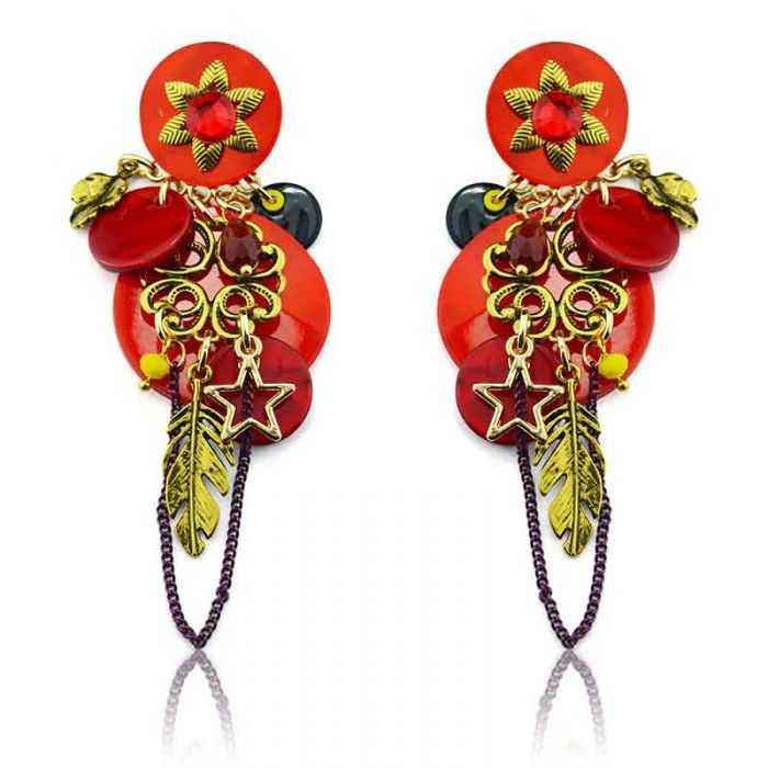 "Boucles d'oreilles ""Ikita - Boho Nausicaa"" en métal et pampilles"