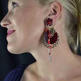"Boucles d'oreilles fantaisie ""Ikita - Boho Bahia"" en métal et pampilles"
