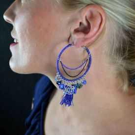 "Boucles d'oreilles fantaisie ""Ikita - Boho Azalée"" en métal et pampilles"