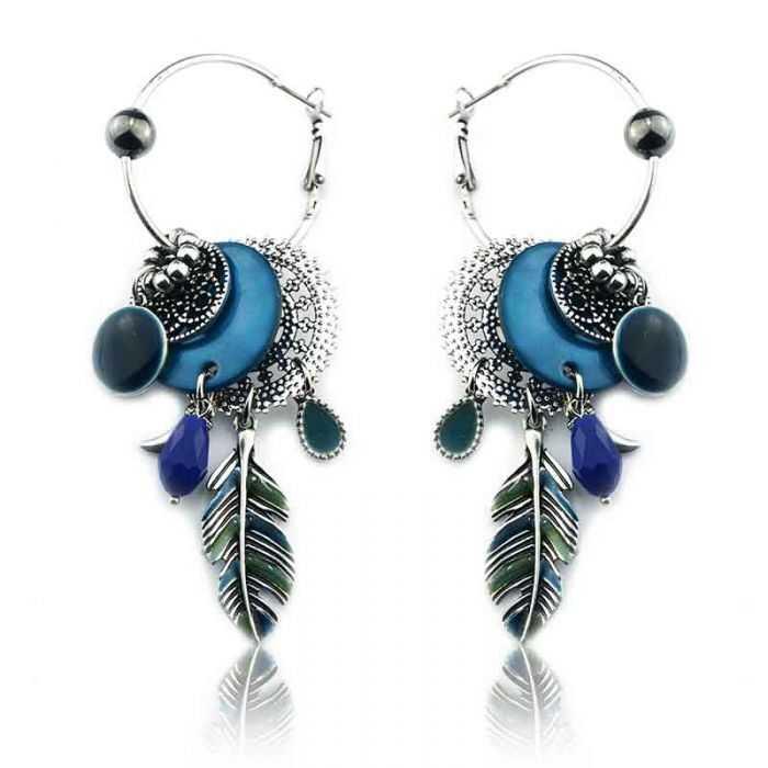 "Boucles d'oreilles ""Ikita - Boho Ondine"" en métal et pampilles"