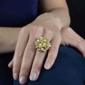 "Bague ""Ikita - Pearl"" en métal doré, perles et strass"