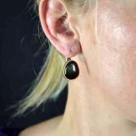 "Boucles d'oreilles ""Ikita - Esmeralda"" en métal doré et émail"