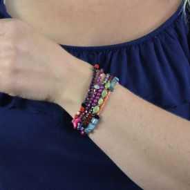 """Bracelet """"Ikita - Shiny"""" en métal argenté et perles"""