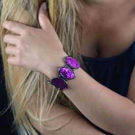 """Bracelet """"Ikita - Fiery"""" en métal argenté et paillettes"""