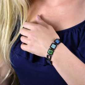 """Bracelet """"Ikita - Flower Power"""" en métal peint et émail"""