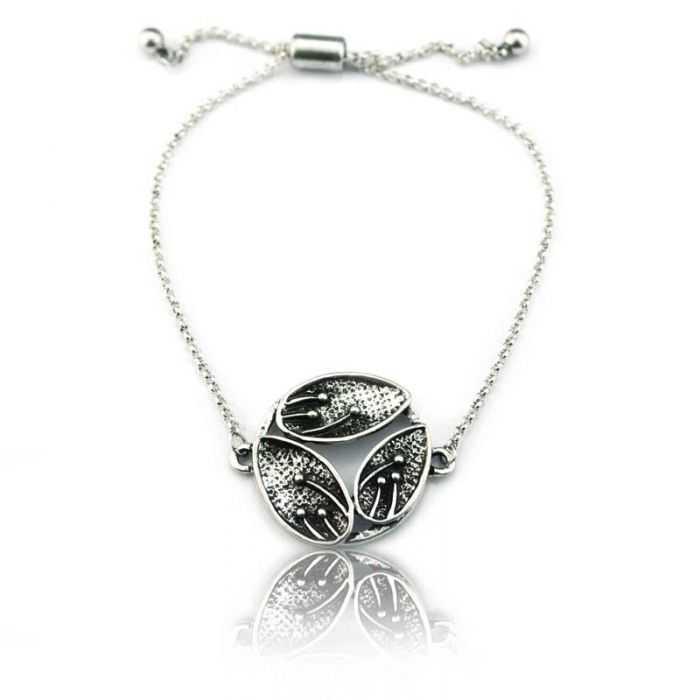 "Bracelet ""Ikita - Leafs"" en métal argenté"