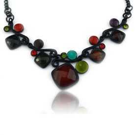 """Collier """"Ikita - Black & Colors"""" en métal noir et émail"""