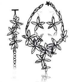 """Parure """"Batucada - Flowers"""" en gomme naturelle"""