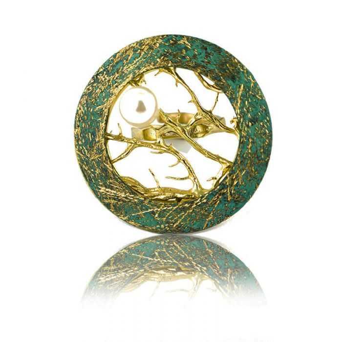 """Bague """"Opus 4 - Poséidon"""" en métal doré peint et perle"""