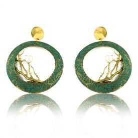"""Boucles d'oreille """"Opus 4 - Poséidon"""" en métal doré peint et perle"""