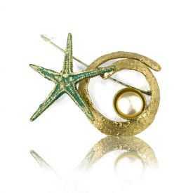 "Broche ""Opus 4 - Poséidon"" en métal doré peint et perle"