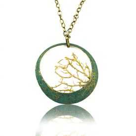 """Collier """"Opus 4 - Poséidon"""" en métal doré vieilli et perle"""